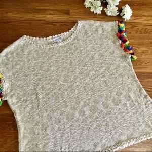 Soft Surroundings 1X Rainbow tassel loose sweater
